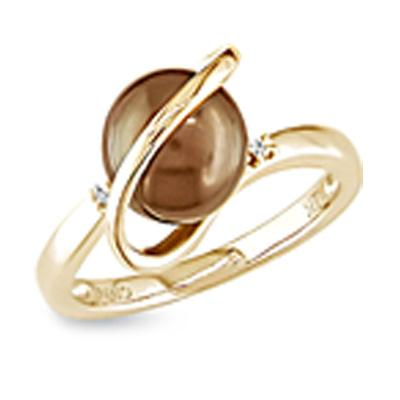 8.0mm Cultured Freshwater Chocolate Brown Pearl Ring with Diamond Accents in 14K Gold