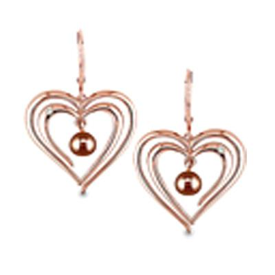 Cultured Freshwater Chocolate Brown Pearl Heart Earrings in 14K Rose Gold Gold