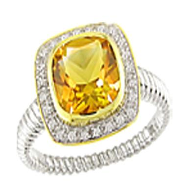Cushion-Cut Citrine and Diamond Ring in 10K Two-Tone Gold Gold