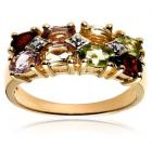 18k Gold Overlay Sterling Silver Multi-Gemstone Ring
